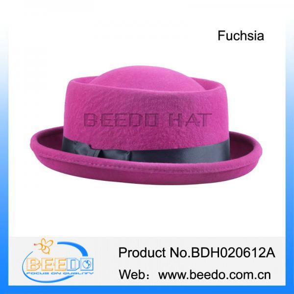 Buy Vintage fuchsia wool felt pork pie hats uk at wholesale prices