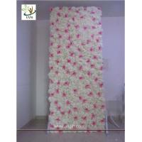 Quality UVG 8ft white photography backdrops in silk wedding flower wall for event stage decoration for sale