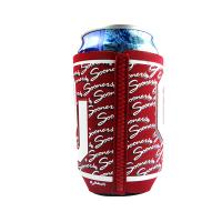 Quality Red Flat Neoprene Can Cooler With Heated Tape By Zig-Zag Stithing for sale