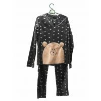 Quality Comfortable Microfleece Pj Set Emb All Over Print Long Sleeves And Trousers for sale