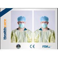 Quality Yellow Disposable Isolation Gowns One Time Use Knitted Cuff Barrier GownsAgainst Liquid for sale