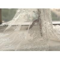 China White Tulle Corded Bridal Stretch Lace Fabric , Floral Embroidered Wedding Dress Lace Fabric on sale
