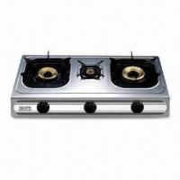 Quality Triple Burner Gas Stove with Stainless Steel Saucer Tray and Heat Input of 2.5/0.9/3.0kW for sale