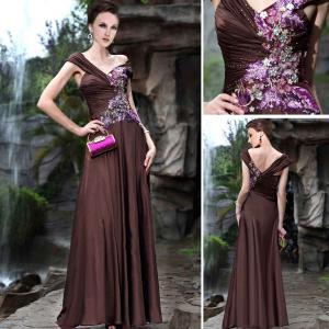 China A-line Floor Length Embroidery V-neck Mature Evening Dresses / Bridesmaids Dress -30352 on sale