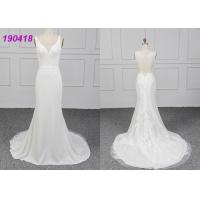 Quality Sleeveless Crepe Wedding Dress Vestido De Noiva Lace Appliques Sheath Design for sale