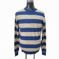 Quality 2013 Men's Sweater/Pullover with Stripes, Crew Neck and Long Sleeve for sale