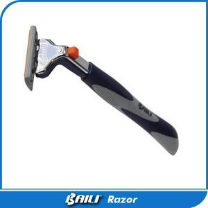Quality Blue Men Triple Blade Razor Manual Shaving Razor Pivoted Head Vitamin E for sale