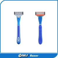 Quality Fashion design blue metal with rubber handle five blades maunal shaving razor for sale