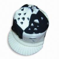 Quality Acrylic Knitted Women's Cap with Peak for sale