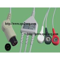 Buy cheap IEC,ECG Cable with 3-Lds Clips/Snap 12ft & 45°-6pin_One piece ECG cable with leadwires product