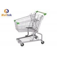 Quality Steel Grocery Mall German Style Trolley , Metal Shopping Cart With Seat Wheels for sale