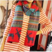 Quality Hot Selling Colorful Christmas Wool Blends Scaf Deer Pattern Knitted Winter Warm Scarves  for sale