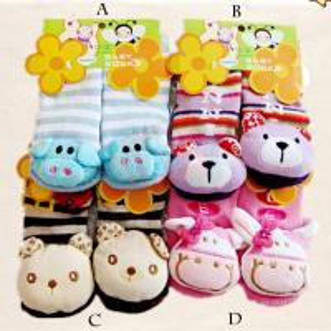 Custom cute animal pattern organic cotton pink Knitted tube sock for kids