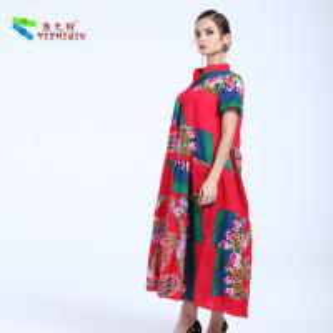 Quality YIZHIQIU Red Sexy Retro Flower V Neck Maxi Dress for sale