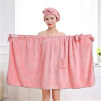 Buy Magic Wearable Bowknot Lady Bath Towel With Pocket Microfiber Towel Set For at wholesale prices