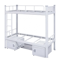 Quality Knocked Down 0.2CBM Adults Metal Double Bunk Bed School Furniture for sale