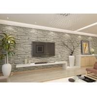 Buy cheap Stylish Removable Faux 3D Brick Effect Wallpaper with Grey Stone Pattern for Living Room product