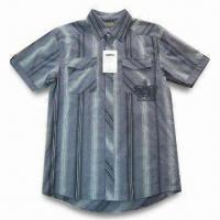 Quality Men's Casual Short-sleeve Stripe Shirt, Made of TC Fabric for sale