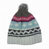 Quality 100% Acrylic Knitted Hat, Customized Logos are Accepted for sale