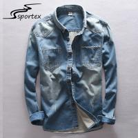 Quality Slim Fit Mens Skinny Denim Shirt , Cotton Denim Shirt Eco Friendly Light Weight for sale