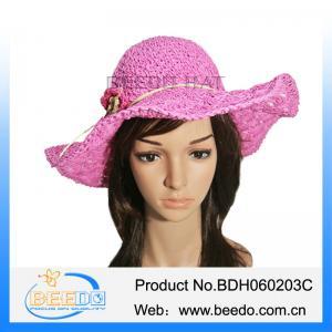 China Fashion madam beach plain floppy straw hat on sale