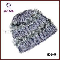 China Gray Plush Knitted Winter Hat (W08-5) on sale