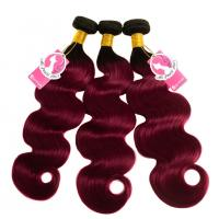 Quality Body Wave 1B 99j Burgundy Color Ombre Hair Weave Bundles Pre Colored Hair for sale