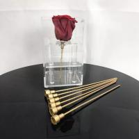 China Reasonable Price Plastic rose stem artificial flower stem use to make preserved roses  flower box on sale