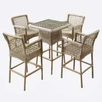 High Durability Patio 5 Pieces Small CBM Rattan Bar Table And Chairs