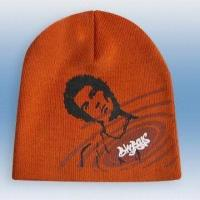 Quality 100% Acrylic Knitted Hat with Print, Weight of 53g for sale