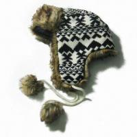 Quality Acrylic Jacquard Hat with Fake Fur, Nice Design for sale