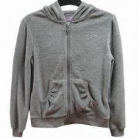 China Girl's velour hoodie, made of 75% cotton and 25% polyester on sale