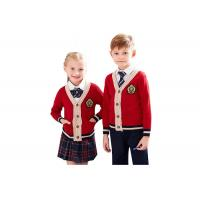 Quality Red Color School Uniform Sweaters , Boys School Sweater Anti Shrinkage for sale