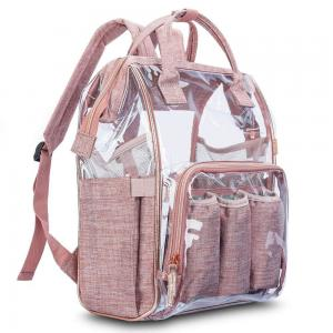 China Clear PVC Linen Baby Backpack Diaper Bag With Insulated Pouch on sale