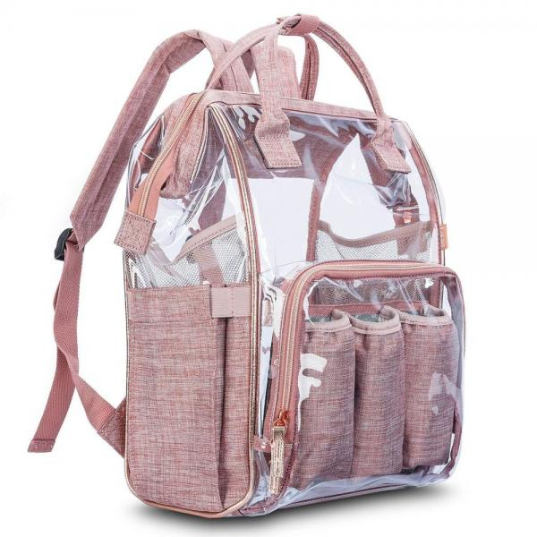 Buy Clear PVC Linen Baby Backpack Diaper Bag With Insulated Pouch at wholesale prices