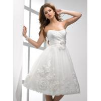 Quality Fall A linie Organza Short Brides Dresses With Flowers Waist Band for sale