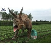 Quality Life Size Farm Animal Models , Full Size Triceratops Dinosaur Lawn Sculpture for sale
