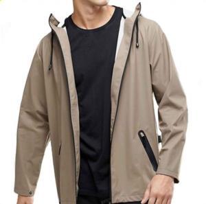 China Waterproof Hooded Anorak Rain Jacket / Mens Fashion Raincoat Zip Fastening on sale