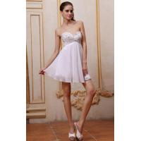 Quality Mini Short Strapless Sweetheart Ivory Ruffe Chiffon Evening Dress For Cocktail Party Dress With Beaded for sale
