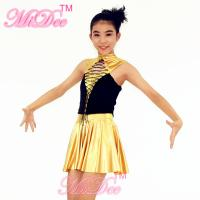 Quality Hip Hop Dance Outfits Lacing Across Middle Font Bodice Metallic Stretch Neoprene Dress for sale