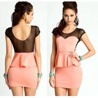 Quality Fashionable Cap Sleeve Casual Womens Dresses Pink Washable for sale