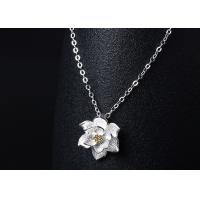 Quality Retro Sterling Silver Lotus Necklace , Silver Fashion Necklace For Women for sale