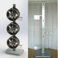 China Double Sides 6 Aluminum Rims Sliver Metal Display Rack Alloy Wheel Rim Floor Metal Display Stand on sale