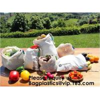 Quality Reusable Produce Bags of Unmatched Quality - Natural Cotton Mesh is Biodegradable,Cotton Packing Bags For Fruit & Vegeta for sale