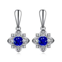 Quality Sapphire Drop Earrings , Sapphire And Diamond Stud Earrings In 18k White Gold for sale