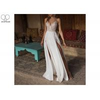 Quality Embroidery Beading Sexy Halter Bridal Gowns Deep V Neck Chiffon High Slit for sale