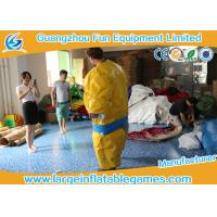 Buy cheap 1.5m / 1.8m 0.4mm PVC Inflatable Sumo Wrestling Suit Yellow foam padded mattress for games product