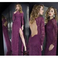 Floor Length A Line Lace Long Sleeve Womens Evening Dresses Backless with Split Front