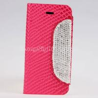 Wallet style PU Leather stand Case with Diamond button for iPhone 5/5S