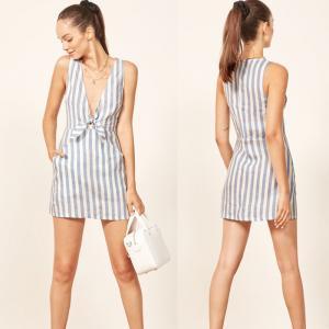 China 2018 Summer Stripe Pocket Deep V Sex Mini Dress Ladies on sale